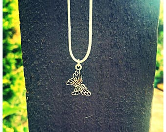 Elegant Small Butterfly Necklace. 925 Silver Chain.