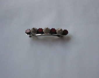 Red Flower Rose Gold Crystal Metal Spike French Barrette, for weddings, parties, special occasions