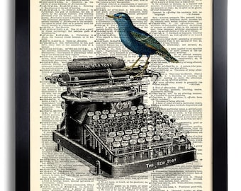Bird Typewriter Art Print Vintage Book Print Recycled Vintage Dictionary Page Collage Repurposed Book Upcycled Dictionary 026