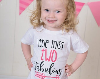 Little Miss TWO Fabulous - 2nd Birthday Shirt - Birthday Shirt - Birthday Girl - Two Year Old - Birthday Gift- 2nd Birthday Outfit
