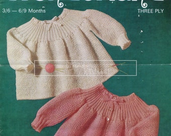 Baby Angel Tops 3ply 19-20in Sirdar 3087 Vintage Knitting Pattern PDF instant download