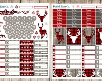 Buffalo Plaid Planner Stickers Plaid Deer Weekly Kit
