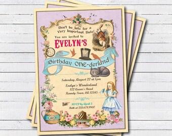 Alice in wonderland invitation. Alice in Onederland girl first 1st birthday party invitation. Mad hatter tea party digital invite KB165