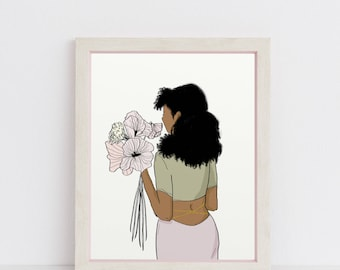 African American Woman + Flowers Printable / Instant Download / Illustration / African American Woman / Natural Hair / Black Women