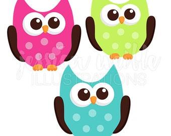 kawaii owls cute digital clipart cute owl clipart owl clip rh etsy com Girl Owl Clip Art Brown Owl Clip Art