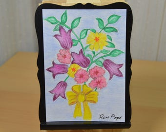 Original ACEO Watercolor Painting - Spring Bouquet Watercolor Art
