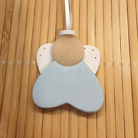 Baptism Heart Ornament: Baby's First Christmas ANGEL Heart Ornament Boy Or Girl