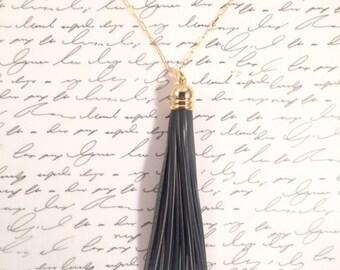 Dark Gray Genuine Leather Tassel w/ Gold Fill Chain