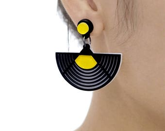 Last- 50% off-4pcs (2 Pairs) Laser Cut Acrylic Bohemia Geometry Earring Jewelry (AGE08) Geometry Series