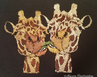 Machine embroidery design 'Giraffes', animals, funny