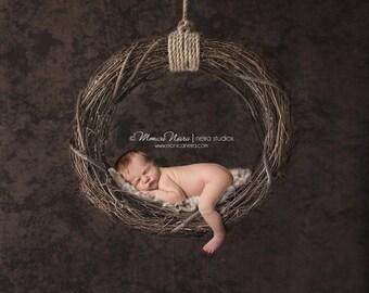 Digital Backdrops/Props (Hanging Newborn Digital Backdrop Twig Swing on Dark Brown Textured Background)