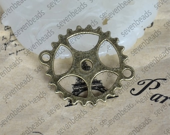 10pcs Gear Charms Antique bronze Tone 2 Sided Cog ,Gear Charms Antique bronze Tone Clock Gear Connector ,metal finding ,pendant charm