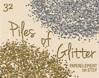 Piles of Glitter: Digital Glitter Download, Glitter Printable, Glitter Gold, Silver Glitter Clipart Download, Digital Gold Glitter Graphics