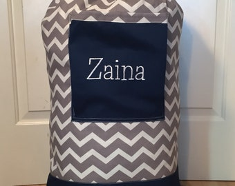 Monogrammed Laundry Duffel Bag, Navy Blue, Gray & White Chevron, Laundry Bag, Laundry Bag for College, Hanging Laundry Bag, Laundry Hamper