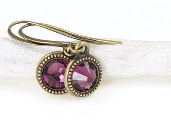 Minimalist Earrings Personalized Jewelry Birthstone Earrings or Custom Color Crystal Earrings Antique Brass Earrings Bronze Jewelry Small