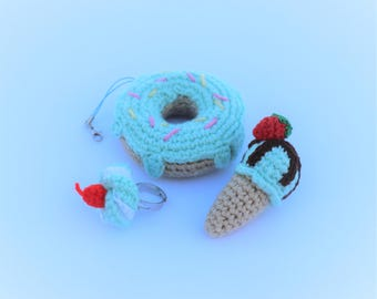 Crochet Food, Amigurumi Doughnut, Amigurumi Ice-cream, Crochet Accessories, Crochet Pin, Crochet Keychain, Crochet Ring, Gift for kid