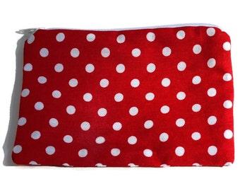 Reusable Snack Bag Zipper Red White Polka Dot
