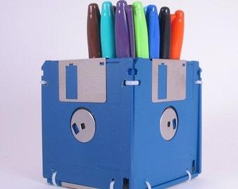 Floppy Disk Pen and Pencil Holder (BLUE)