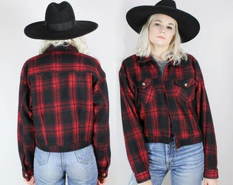 80s Red Plaid Jacket, Size Medium, Zip Up, Red and Black, Fall Jacket, Winter, Vintage Wool, Womens, 90s, Size Large