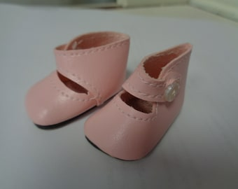 Teeny Tiny Pink Mary Jane button Strap Doll Shoes  Vintage Doll Shoes-Size 8