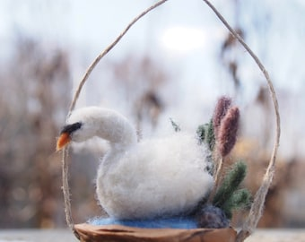 Swan Ornament / Needle Felted Swan in a Walnut Shell / Felted Fiber Sculpture / Wool Felt Swan / Nutshell Miniature / Spring Ornament