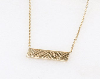 geometric gold plated necklace woman plate designs