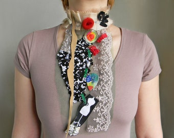 Lace Jabot, Mixed media fabric collage, Contemporary Jewelry Neck corset, Neck Piece Costume jewelry Collar necklace Long statement necklace