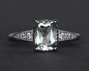 natural green amethyst ring cushion cut gemstone ring engagement promise ring silver