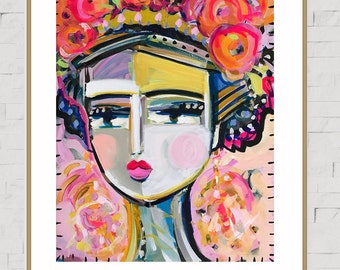 Warrior Girl PRINT, abstract faces, Maren Devine, paper OR canvas, Maria