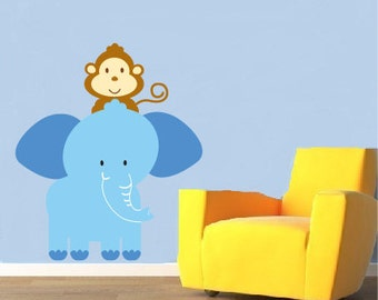 childrens removable vinyl wall decal Elephant with monkey great for any nursery kids room or playroom