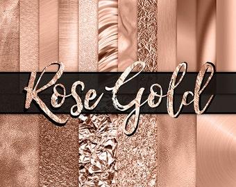 Rose Gold Digital Paper -  rose gold foil, rose gold glitter, gold foil, fashion, planner digital paper, gold backgrounds, gold metallic