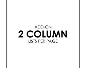 Add List Pages - 2 columns per page