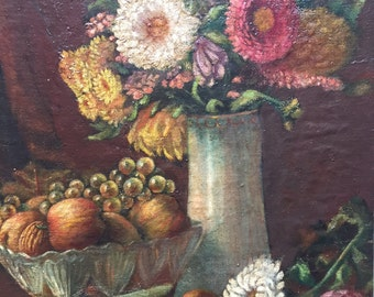 Very nice painting French oil painting. 1910 a bouquet. Vintage painting. Still life.