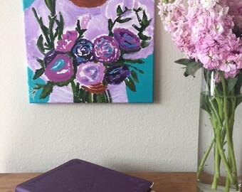 Original Acrylic Art Spring & Purple Flowers