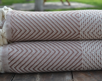 "Rosy Brown Throw,Large Blanket,Peshtemal Cover,Turkish Pestemal,Bed Cover,75""x91"",Turkish Blanket,Blanket,Turkish %100 Cotton Towel,Towel"