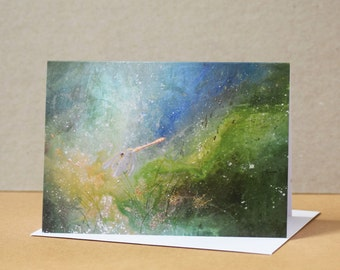 Saffron-winged Dragonfly Painting //Greeting Card