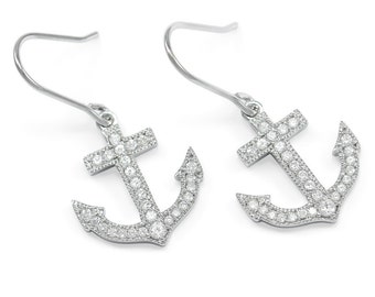 Nautical Statement Sterling Silver Anchor Earrings with CZs / Anchor Earrings / Nautical Jewelry / Anchor Charms / Nautical Charms