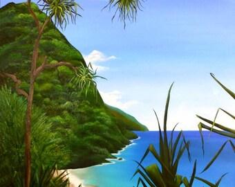 KALALAU TRAIL Kauai Hawaii Giclee print by Vickie Peters