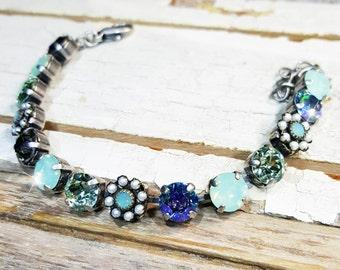 Moon Flower Crystal Bracelet, Swarovski Bracelet, Multicolored Crystal Bracelet.