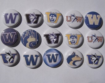 University of Washington Huskies Buttons Set of 15