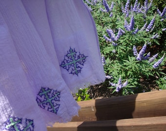 Women's Lavender Shawl/Large Shawl/Cotton Gauze Shawl/Cotton Scarf/Hand-Embroidered Scarf