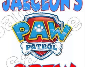 Paw Patrol Customized  Iron On Shirt Transfer #2