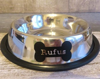 Personalised Pet Bowl - Dog Cat Bowl - Custom Pet Bowl - Stainless Steel Pet Bowl - Anti Slip