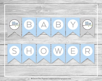 Owl Baby Shower Banner - Printable Baby Shower Banner - Blue Owl Baby Shower - Baby Shower Banner - Owl Baby Banner - EDITABLE - SP135