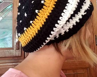 Thin Gold Line/Thin Blue Line/Thin Red Line/First Responders/Law Enforcement/911 Dispatcher/Firefighter Hat/EMS Crochet Hat/The Thin Line