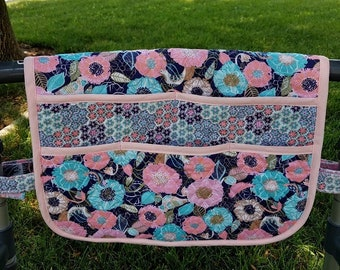 Walker bag caddy, quilted pastel garden, lots of pockets,  organizer, purse, rollator, all cotton