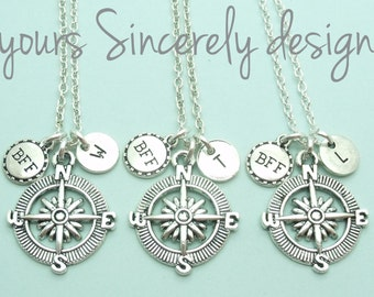 Three (3) BFF necklaces, compass necklace, bff personalised necklace, bff gift, best friends forever, distance necklace, friendship, initial