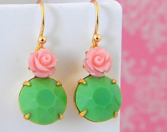 Pink Rose Vintage Green Glass Earrings