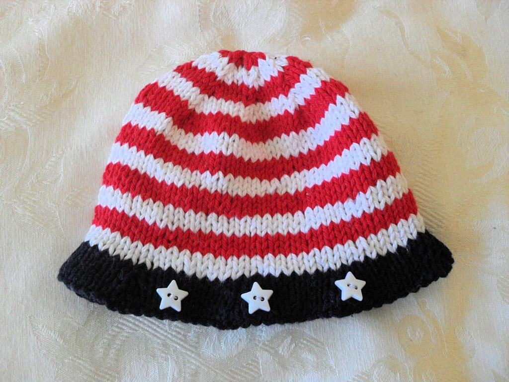 Knitted Hat Pattern Baby Hat Pattern Baby Patriotic Hat Pattern ...