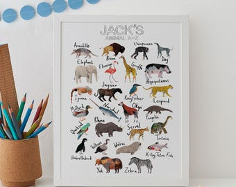 Personalised Animal Alphabet Print, ABC Animal Print, African Safari Print, Kids decor, Nursery Animal Print, Nursery decor, African Animal